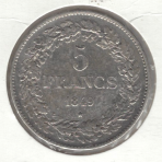 5 Francs 1849 – Braemt – Type II
