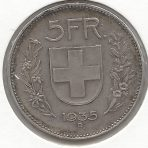 5 Francs – 1935B – Helvetica